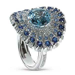 Damiani---SUFI--ring-with-a-central-aquamarine,-diamonds-and-sapphires-20059245