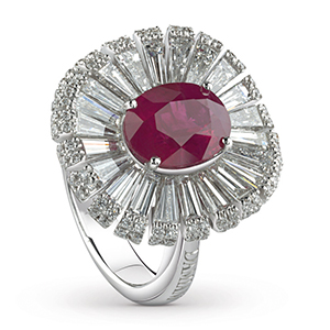 Damiani---SUFI-ring-with-a-central-ruby,-brilliant-and-baguette-cut-diamonds-81049075