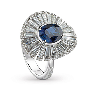 Damiani---SUFI-ring-with-a-central-sapphire,-brilliant-and-baguette-cut-diamonds-81049079