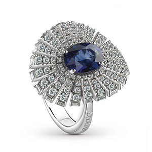 Damiani---SUFI-ring-with-a-central-sapphire,-brilliant-cut-diamonds-81049078