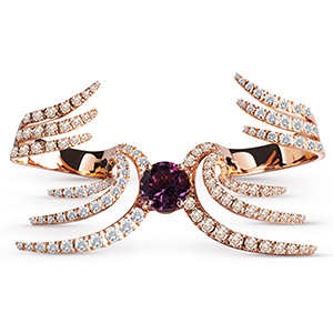 Damiani---SWAN-pink-gold-double-ring-with-amethyst-and-brown-diamonds-20060964