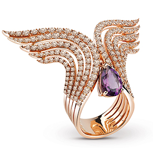 Damiani---SWAN-pink-gold-ring-with-amethysts-and-brown-diamonds-20060962