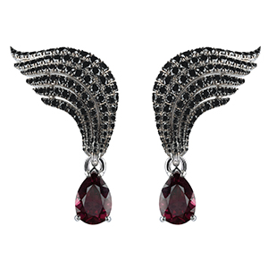 Damiani---SWAN-white-gold-earrings-with-black-diamonds-and-garnets-20059866