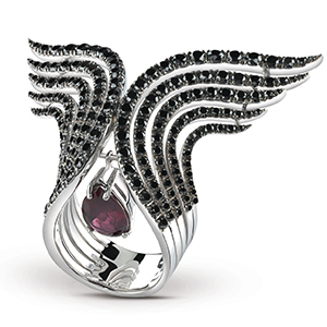 Damiani---SWAN-white-gold-ring-with-black-diamonds-and-a-garnet-20059865