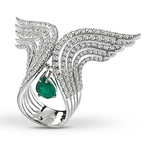 Damiani---SWAN-white-gold-ring-with-diamonds-and-an-emerald-20059868