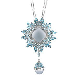 Damiani---VIVALDI-pendant-with-chalcedony,-topazes-and-diamonds